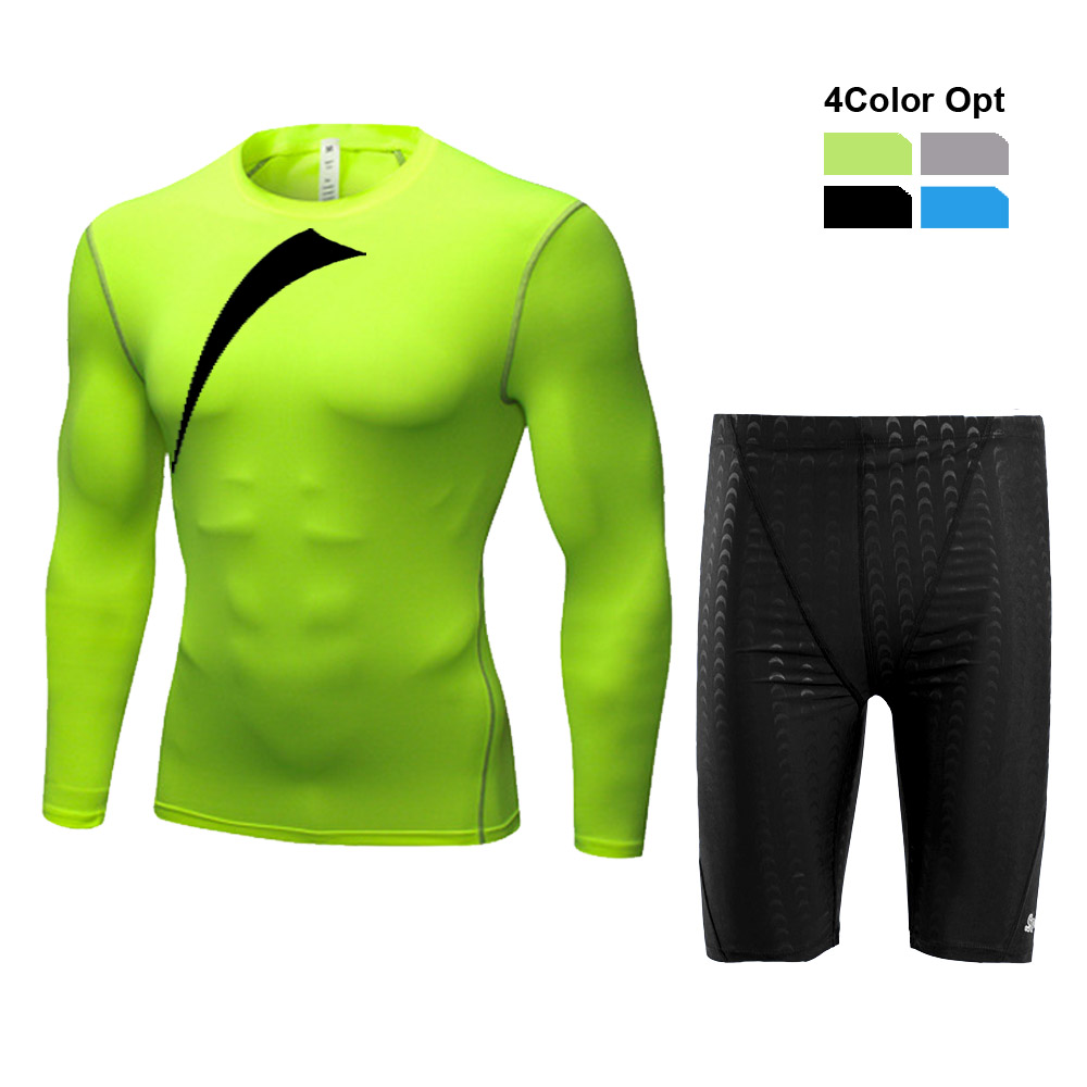 Men Boy Swim Top T Shirt Trunks Boxers Shorts Swimwear Short Pants SwimSuit Swimming Wear Long Sleeves for Beach Spa Pool hnyy in Body Suits from Sports Entertainment