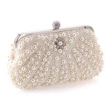 Trend Woman Night Baggage Beautiful Imitation Pearl Crystal Beading Bridal Marriage ceremony Occasion Clutch Bag Girls Purses LT88