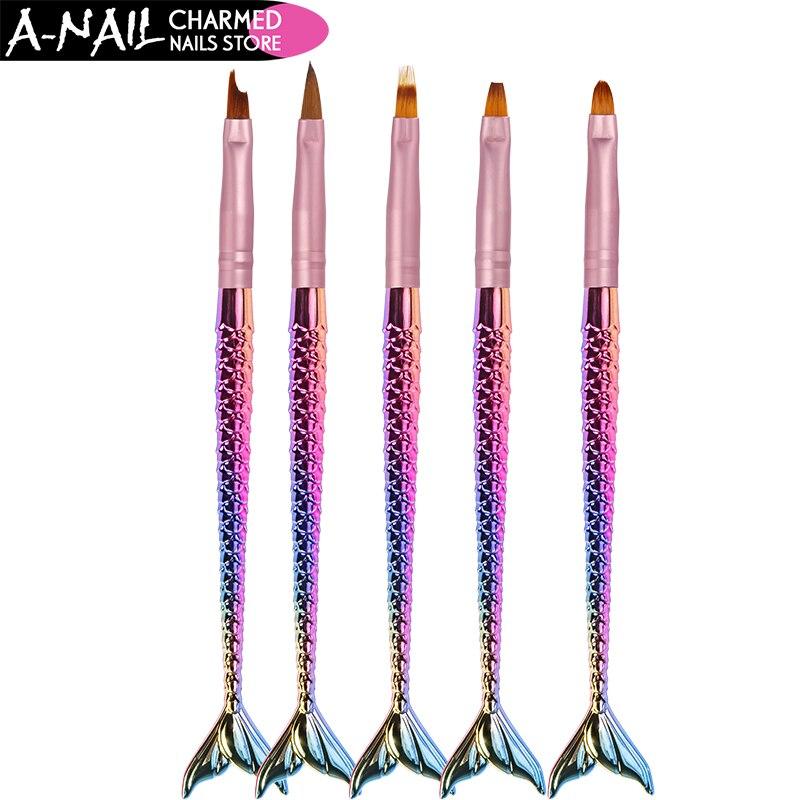 цена на 5Pcs Mermaid Gradient Nail Art Brush Carved Pen Painting Drawing Tips Acrylic Gel UV Polish Design Manicure Tools
