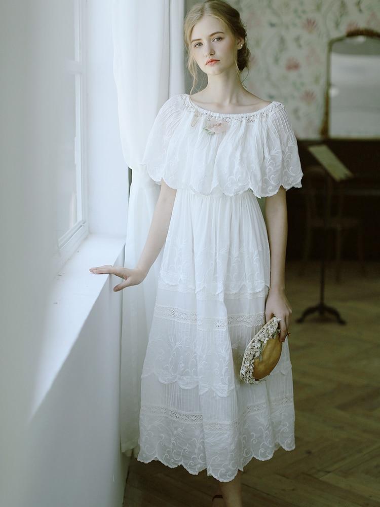 LYNETTE'S CHINOISERIE Summer Women High Quality Victoria Vintage Embroidery Mori Girls Silken Cotton Dresses