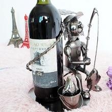 Whisky Holder Bar Handmade Funny Fisherman  Wine Rack Metal Crafts Gift Home Furnishing Smile