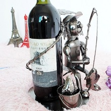 O.RoseLif Whisky Holder Bar Handmade Funny Fisherman Wine Rack Metal Crafts Gift Home Furnishing Wine Holder Smile