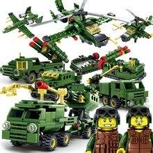Кази игрушки в стиле милитари строительные блоки DIY 6 шт./лот мировой войны Книги об оружии танк, вертолет кирпич блоки города игрушки для детей