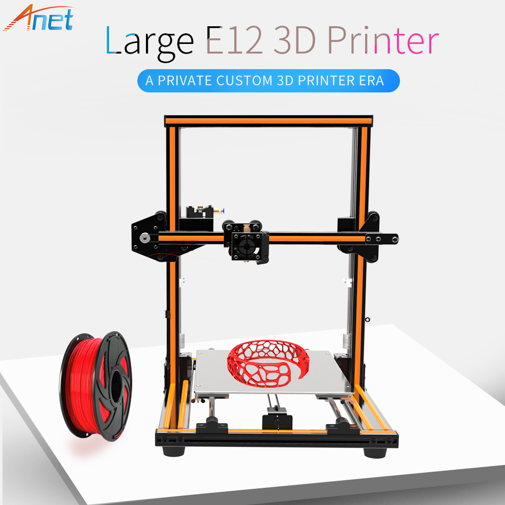 2018 Newest ! Anet E10 E12 3D Printer Large Printing Size High Precision Reprap Prusa i3 DIY 3D Printer Kit with Filament Free zonestar newest full metal aluminum frame big size 300mm x 300mm auto level laser engraving run out decect 3d printer diy kit