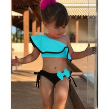 Loozykit Swimsuit For Teen Girls Summer Baby Kids Girl Two Piece Swimwear Water Sports Bikini Swim Dress Beach Bathing Costume(China)