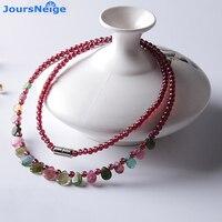 Hurtownie JoursNeige Naturalny Granat Naszyjnik Z Tourmaline Raindrop Wisiorek Księżniczka Naszyjnik Kobiety Biżuteria Prezent Urodzinowy