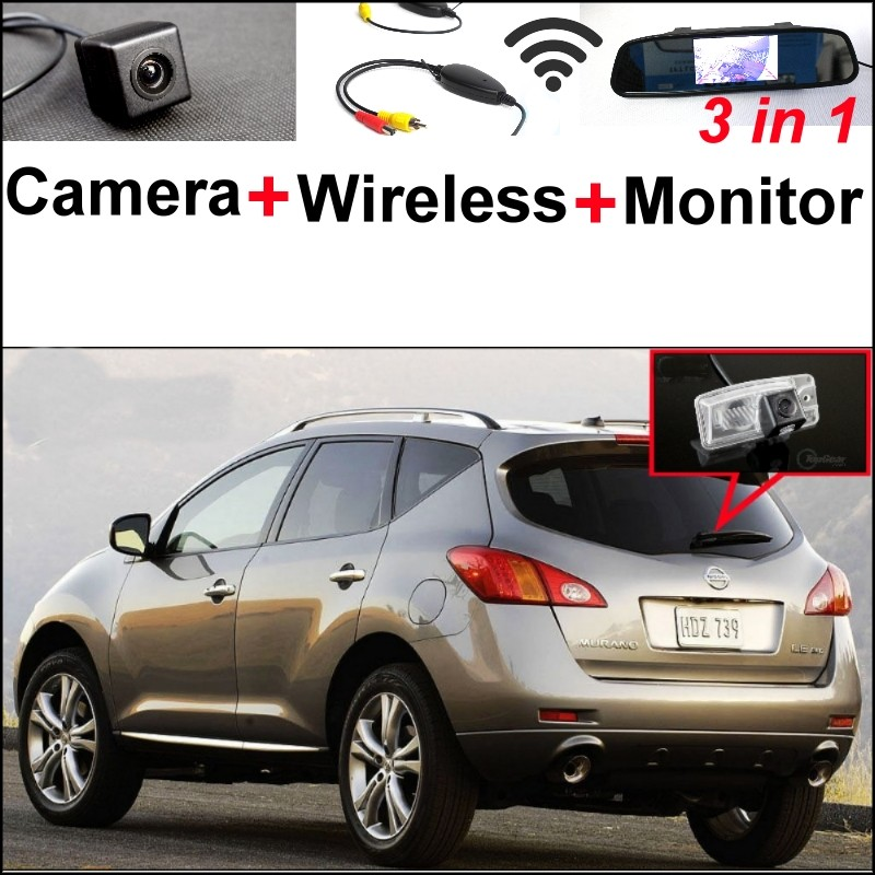 3 in1 Special Rear View Camera + Wireless Receiver + Mirror Monitor Easy Back Up Parking System For Nissan Murano 2014~2015 wireless pager system 433 92mhz wireless restaurant table buzzer with monitor and watch receiver 3 display 42 call button