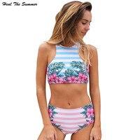 Heal The Summer 2018 Halter Bikinis Set Women New Swimwear Swimsuit High Waist Two Piece Push