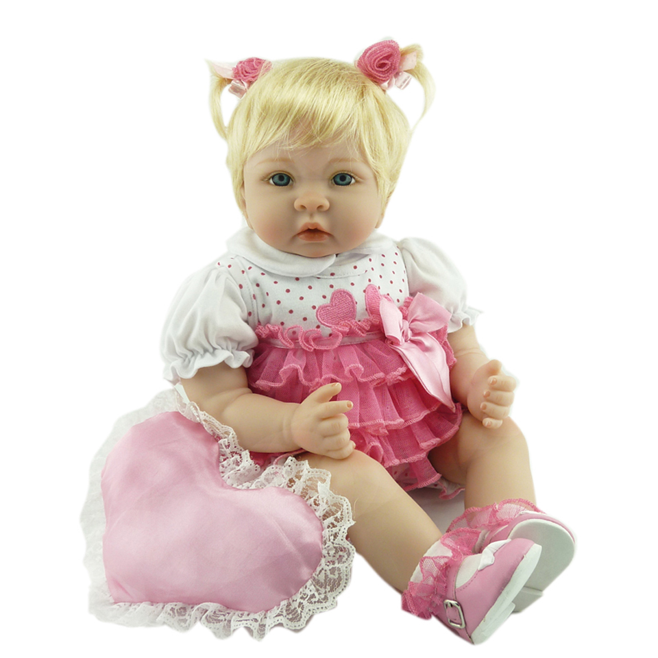 2017 Fashion Silicone Reborn Dolls Real 22'' Gold Hair Girl So Truly Baby Dolls with Hear Pillow Baby Born Kids Toy Xmas Gifts camino real gold купить грн