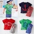 DT0233 Мальчиков Комплект Одежды Лета Лодка Якорь Рыбы Полосатый хлопок Мальчиков Одежда Набор футболка Брюки 2 ШТ. Детские костюмы