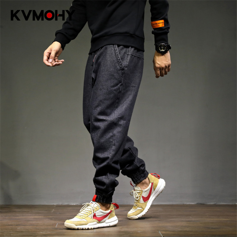 Jeans   Men Baggy Denim Harem Pants Male Loose Crotch   Jeans   Hip Hop Street Drawstring Trousers Plus Size Joggers Streetwear