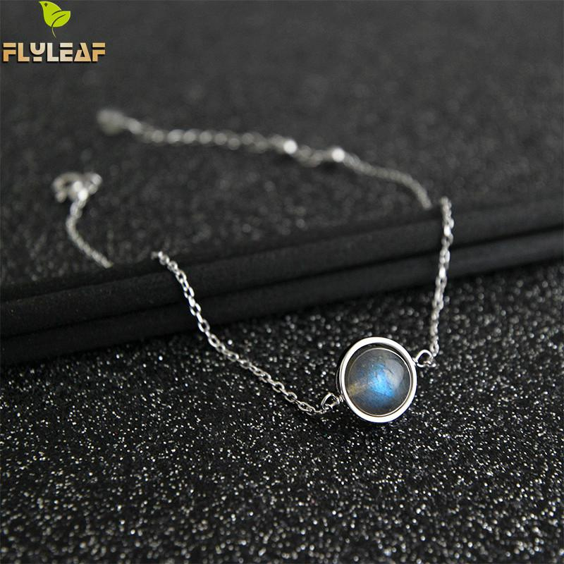 Flyleaf Nature Moonstone Bead Real 925 Sterling Silver Anklet For Women Fashion Chain Fine Jewelry Anklets On Foot Bracelet