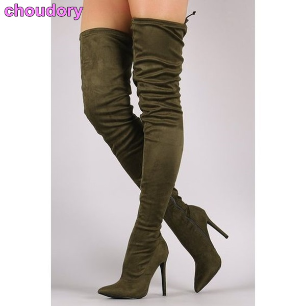 Newest Design Pointed Toe Long Boots Thin High Heels Thigh High Boots Army Green Suede Lace-up Skinny Dress Boots Nightclub Shoe