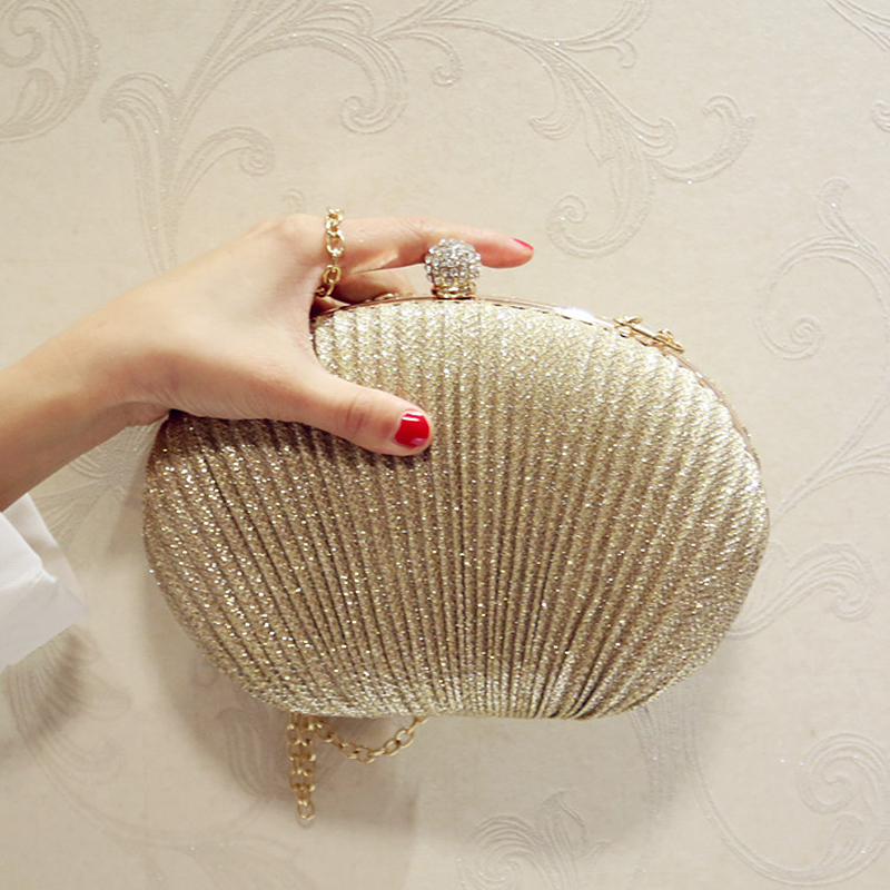 2019 Lady Diamond Golden Evening Clutch Bag Women Wedding Shiny Handbags Bridal Pleated Purse Bags Chain Shoulder Bag  MN2019