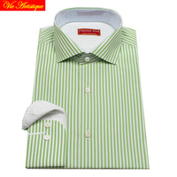 designer men's long sleeve white green striped dress shirts male tailored 6789 XL business office cotton slim fit 2018 spring