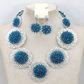 New Teal Blue Crystal Wedding Necklace Earrings Jewelry Set Bride Story Jewelry Necklace Set Handmade Free Shipping WA564