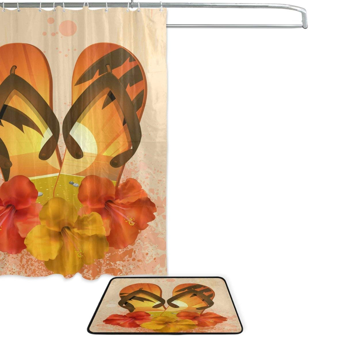 04b87ff9c Tropical Hibiscus Flower Flip Flops Waterproof Polyester Fabric Shower  Curtain Doormat Bath Floor Mat Bathroom Home Decor-in Shower Curtains from  Home ...
