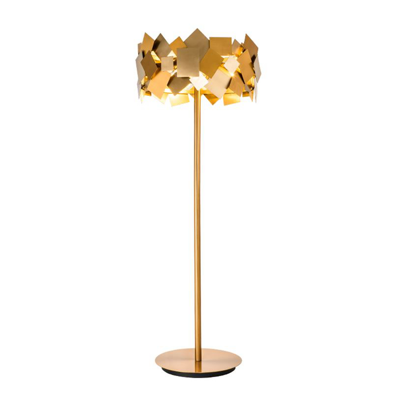 Ouro luxuoso Post Modern aço inoxidável Lâmpada de Assoalho LEVOU Vivendo Quarto Arte Decoração Piso Luz Minimalismo candeeiro de pé