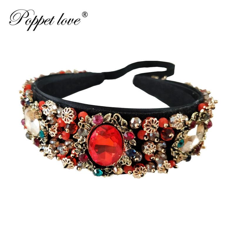 Bride Tiaras Baroque Crown Blue Rhinestone Beads Hair Bands Crystal Velvet Wide Headbands For Women Party Wedding Hair Jewelry