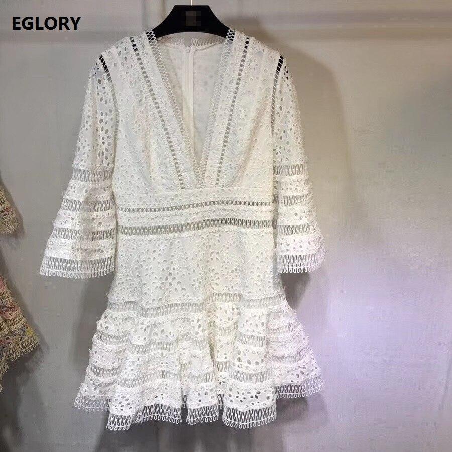 pink Flare Robe Manches Fille Hauts De Femmes Black Parti Nouvelle Dentelle Allover Lux Festa white Sexy Robes Courte Mode Printemps Broderie 2019 1B1pOwq6
