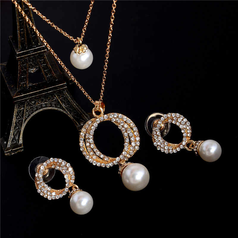 Hesiod Bridal Simulated Pearl Jewelry Sets Full Crystal Pendant Stud Earrings for Women Wedding Dress Decorations