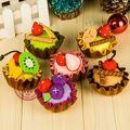 6 Unids tejido a mano de tela de BRICOLAJE pastel de frutas para la decoración del hogar/sistema Entero Niños accesorios Artesanales para cumpleaños personalizada regalo