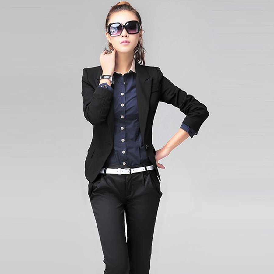 2017 Autumn Slim Blazer Women Black Plus Size Women Blazers And Jackets Female Casaco Feminino Suits Ladies Clothes 50N410