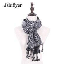 Jzhifiyer viscose acrylic rose foulard jacquard scarf men luxury brand tassel woven echarpe bufanda shawls feminino inverno