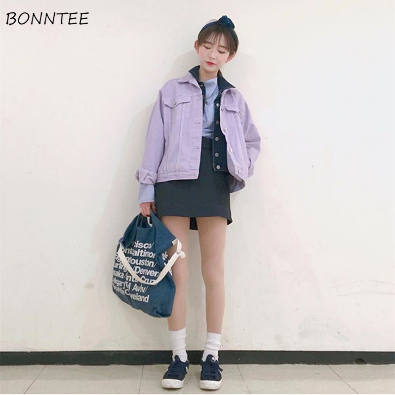 Jackets   Women Solid Simple Lovely Korean Style Students Denim Full Length   Basic     Jacket   All-match Womens Trendy Daily Leisure New