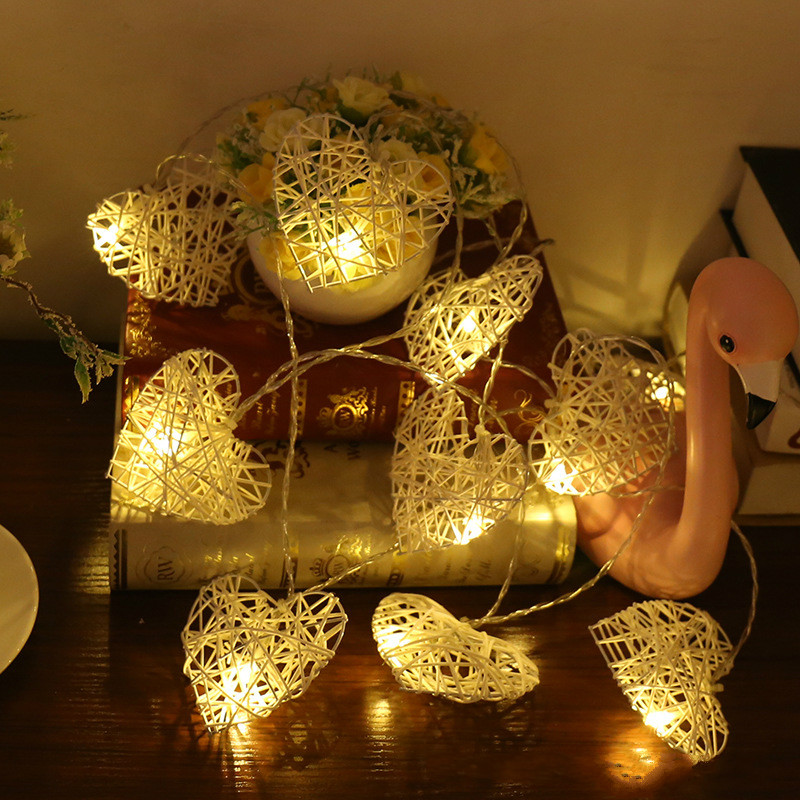 Rattan Heart LED String Warm White Romantic Room Decoration Battery Powered Safety Girls Gift IY310150