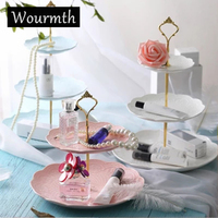Wourmth Fruit Dishes Ceramic Cake Plate Sets 3 Layer Pastry Candy Snack Tray Kitchen Accessories Fruit Tray Home Decoration
