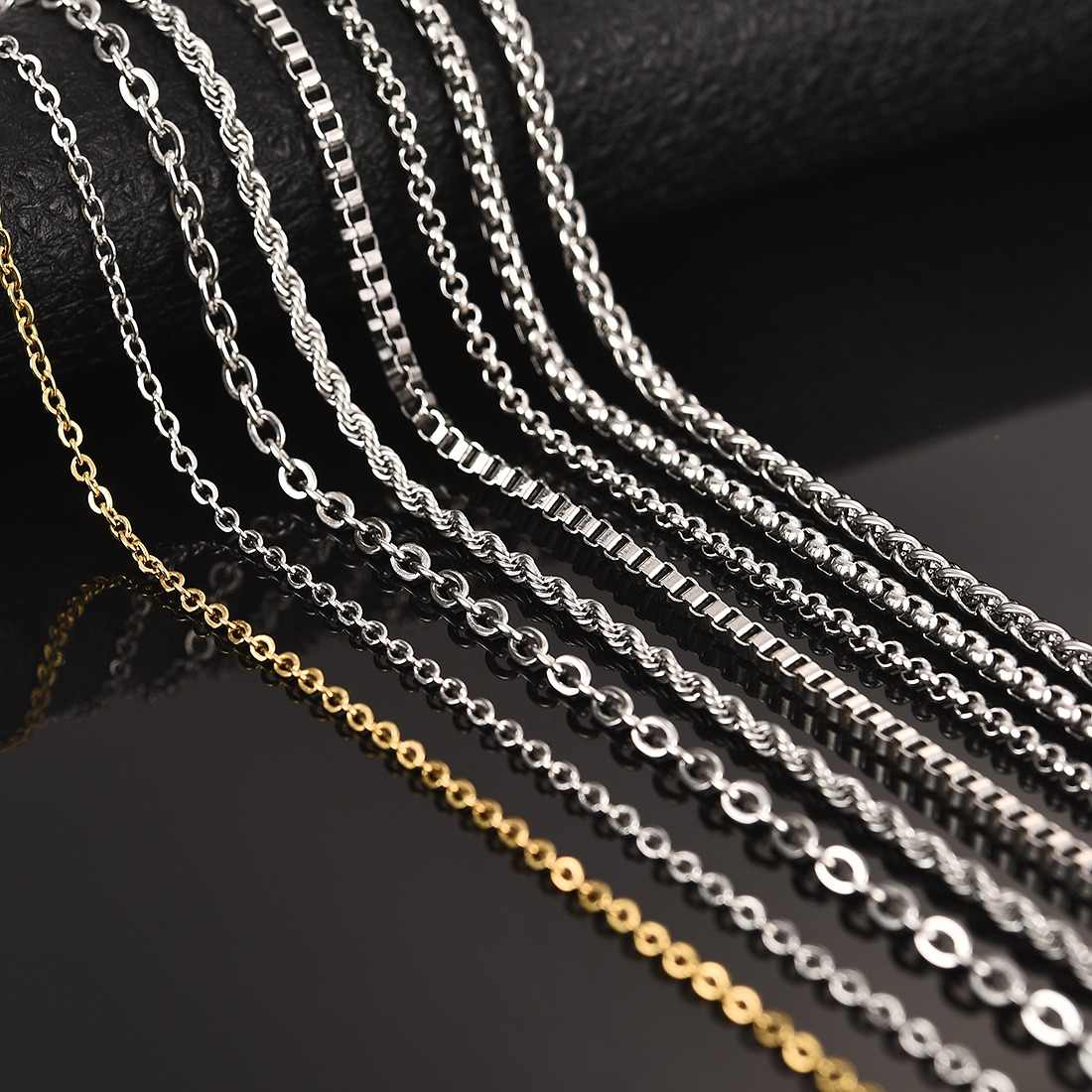 YAKAMOZ Fashion Gold Silver Chain Titanium Stainless Steel Necklace For Women Men DIY Jewelry Choker 50cm 60cm