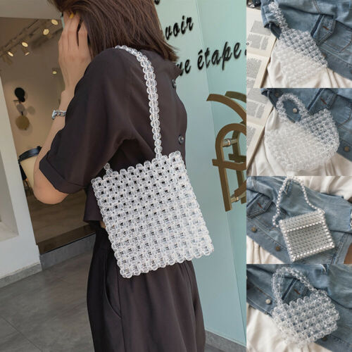 Womens Beaded Pearl Bag Handmade Luxury Weave Handbag Crystal Evening Clutch Bag