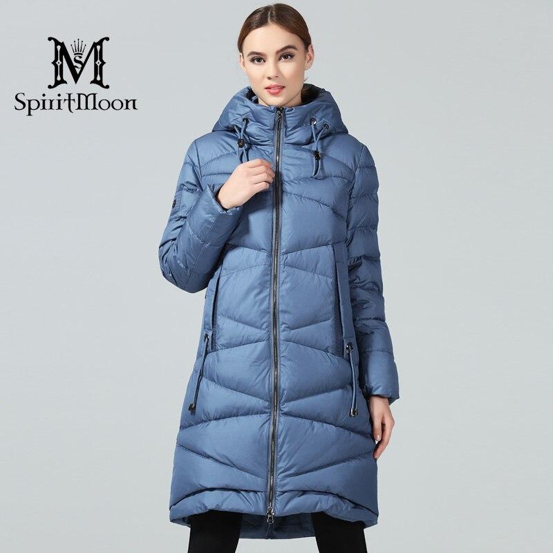 SpiritMoon 2018 Nouvelle Femme D'hiver de Manteaux Et Vestes Longues Pour Femmes Femmes Parka À Capuche Marque Bio Vers Le Bas Veste Plus taille 5XL 4XL