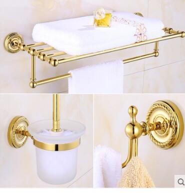 Free Shipping Brass Bathroom Accessories Set Robe Hook Paper Holder
