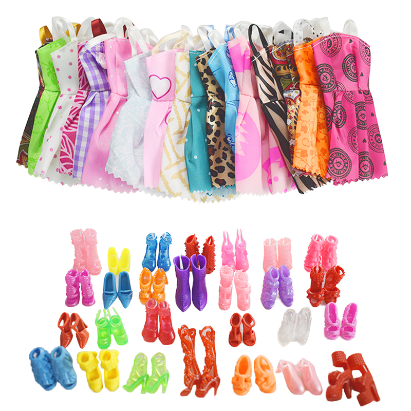 20 Item/Doll Accessories=10 Pcs Doll Clothes+Random 10 Pairs Doll Shoes Fashion Party Princess Dress For Barbie Doll Accessories