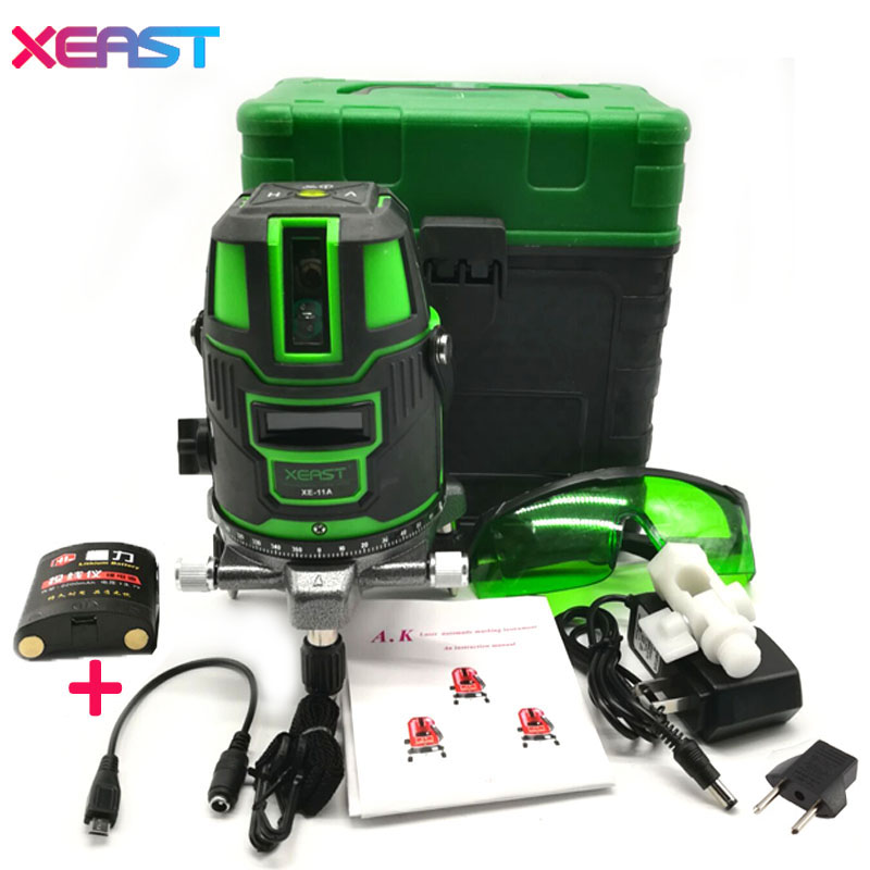 XEAST XE-11A 2 Lines 1 point Green laser level meter 360 degree rotary cross laser line level can be used with outdoor mode laser level 360 degree rotary cross laser cast thread can be used outdoor 2 lines 3 points green line laser level infrared laser