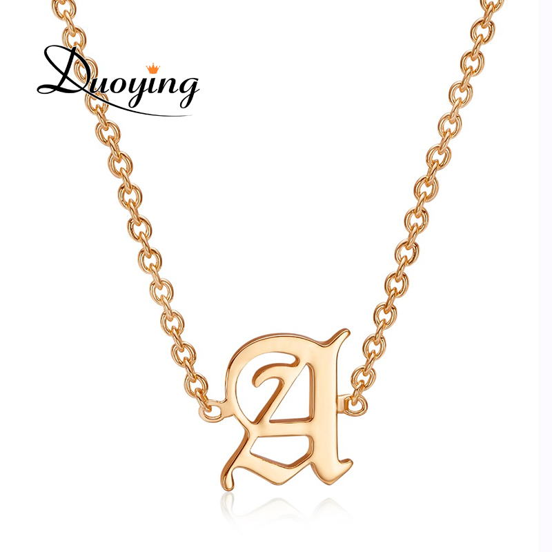 US $8 29 |DUOYING Old English Text Font Single Inititial A Z Letter Choker  Necklace Capital Letters Necklace For Woman Gift Dropshipping-in Choker