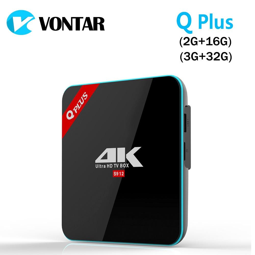 VONTAR Q Plus 3G/32G Amlogic S912 Octa Core Andorid 7.1 TV CAJA de 2.4G/5 GHz Dual WiFi BT4.0 4 K H.265 Decodificador Medios jugador