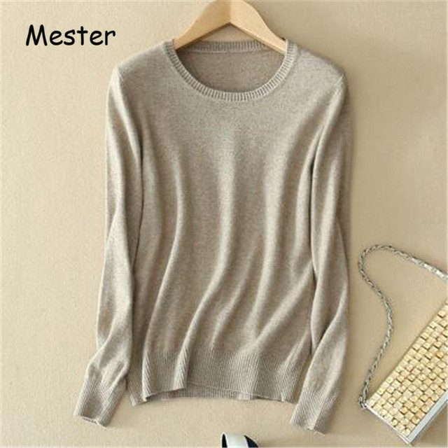 2017 Women Crew Neck Cashmere Bottoming Shirt Long Sleeve Solid Knitted Sweater Slim Soft Comfortable Pullovers Knitwear S-3XL