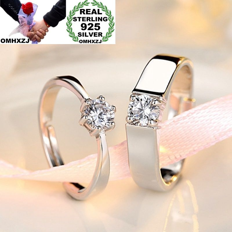 OMHXZJ Wholesale European Fashion Woman Man Party Wedding Gift Simple White Lovers AAA Zircon 925 Sterling Silver Ring Set RR239