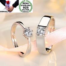 OMHXZJ Wholesale European Fashion Woman Man Party Wedding Gift Simple White Lovers AAA Zircon 925 Sterling Silver Ring Set RR239(China)