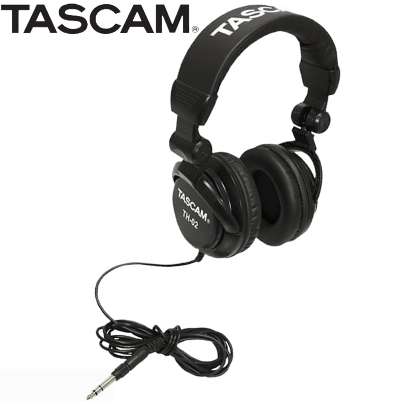 Tascam TH 02 Closed Back Studio Headphones Black with padded headband and ear pads studio recording