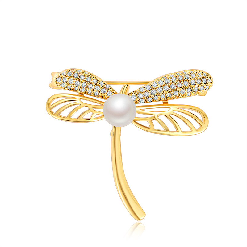 Fashion AAA cubic zirconia pave setting dragonfly shaped brooch,womens accessaries