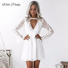 WildPinky Women White Summer Dress Solid Floral Crochet Lace High Chocker Plunge V Neck Dress Flare Sleeve Mini Elegant Vestidos burgundy plunge cami mini dress with lace details