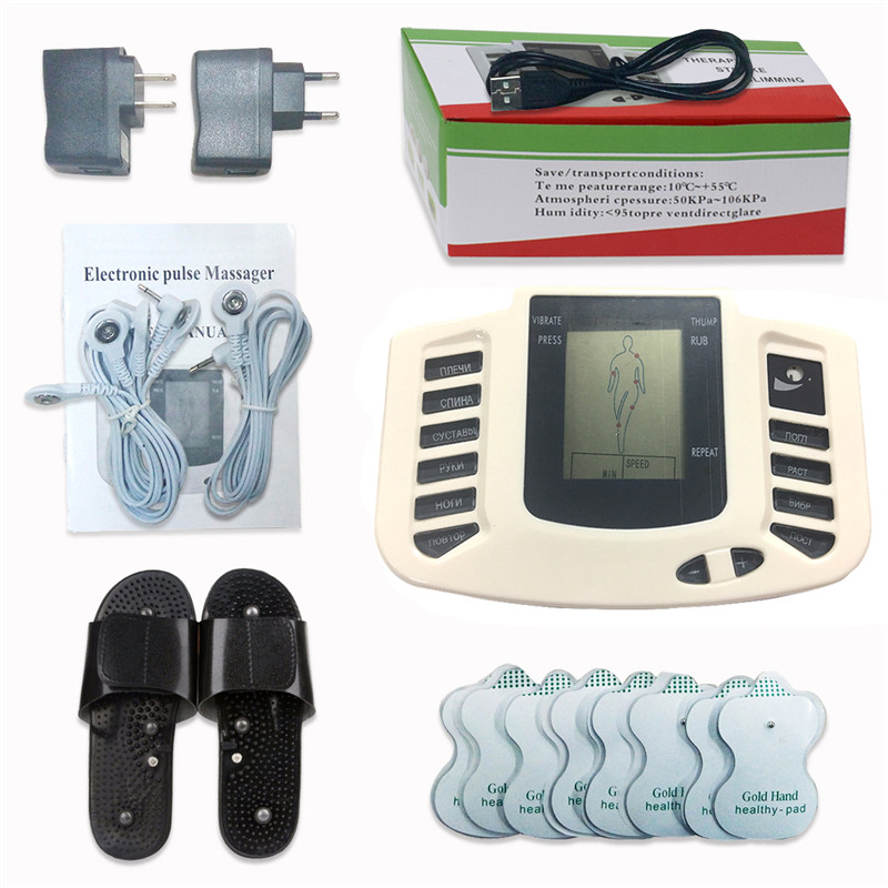 Russian Button Slipper+16pcs Electrode Pads Electrical Muscle Stimulator Body Relax Massager Pulse Tens Acupuncture Machine Gift