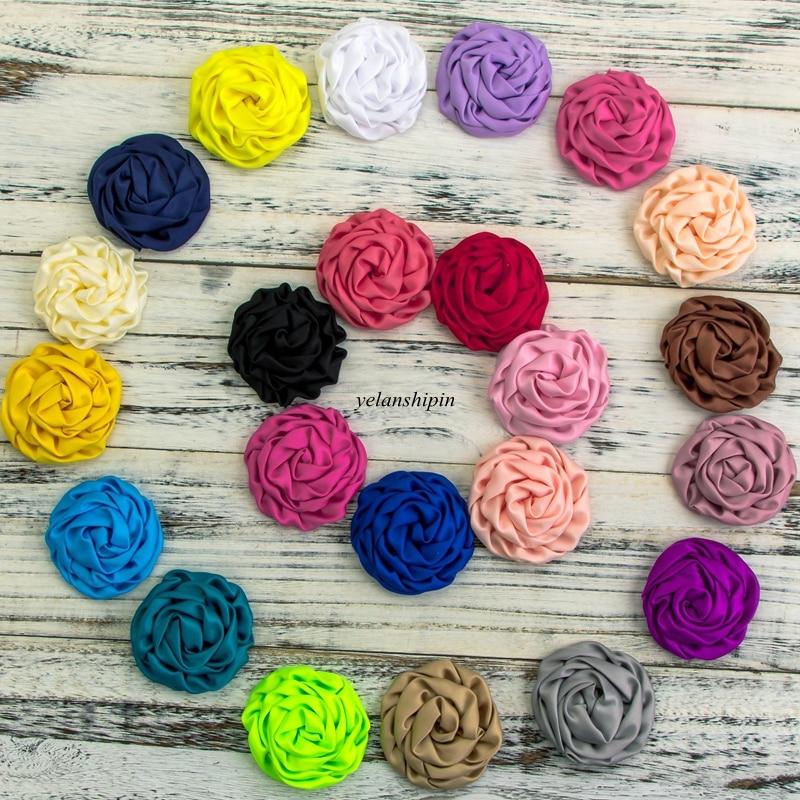 120pcs lot 3 2 15 Colors Hair Clips Hot Sale High Quality Fabric Soft Silk Rosette