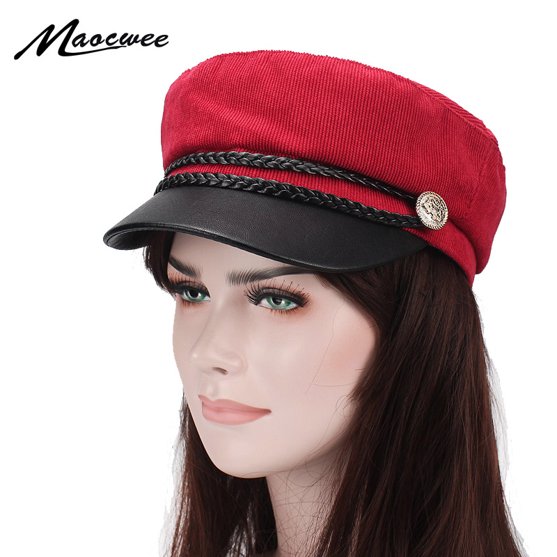 Spring Summer Autumn Military Cap Women Acrylic Flat Top Army Hat with New style girl student Army hats Snapback Bones Gorras