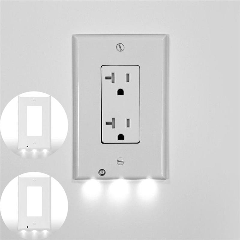 Plug Cover LED Light PIR Body Motion Sensor Activated Safety Plug Cover Light Wall Outlet Hallway Bedroom Bathroom Night Lamp