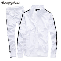 Bumpybeast Mens Track Suits 2018 Spring Sportswear Men Solid Color Tracksuits New Brand White Sportwear Set